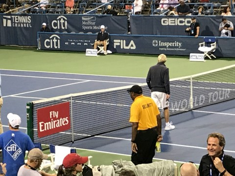 MVP Security Officer in Gold Shirt protecting the Main Court at the 2017 Citi-Open Tennis Tournament