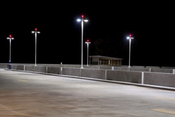 Parking lot at night light with LED light post.